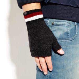 Savile Rogue Wrist Warmers: Charcoal Claret White