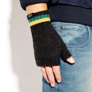 Savile Rogue Wrist Warmers: Charcoal Green Gold