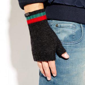 Savile Rogue Wrist Warmers: Charcoal Green Red
