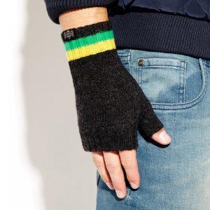 Savile Rogue Wrist Warmers: Charcoal Green Yellow