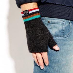 Savile Rogue Wrist Warmers: Charcoal Green Brown Sky Blue Red