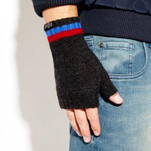 Savile Rogue Wrist Warmers: Charcoal Royal Blue Maroon