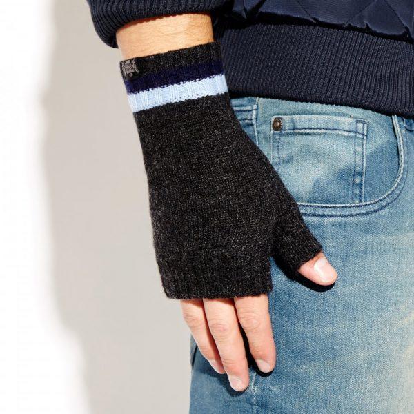 Savile Rogue Wrist Warmers: Charcoal Navy Sky Blue