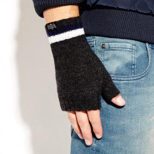 Savile Rogue Wrist Warmers: Charcoal Navy White