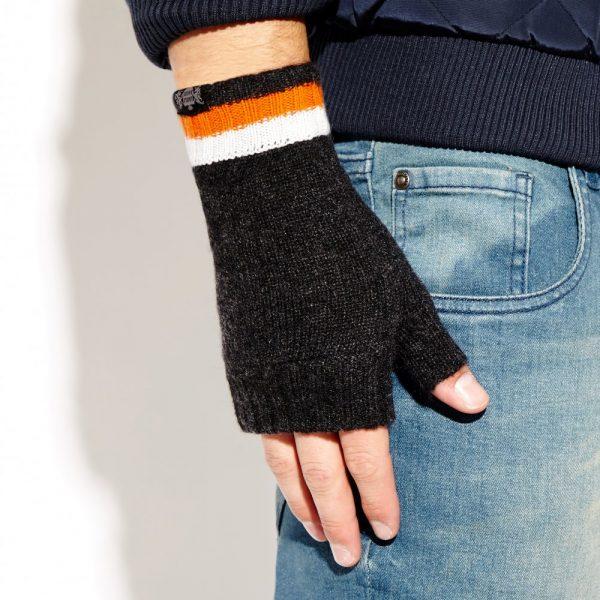 Savile Rogue Wrist Warmers: Charcoal Orange and White