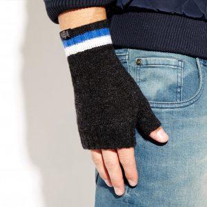 Savile Rogue Wrist Warmers: Charcoal Royal Blue White