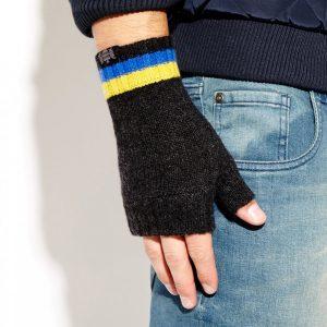 Savile Rogue Wrist Warmers: Charcoal Royal Blue Yellow