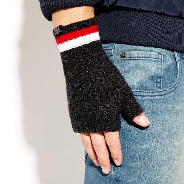 Savile Rogue Wrist Warmers: Charcoal Red White
