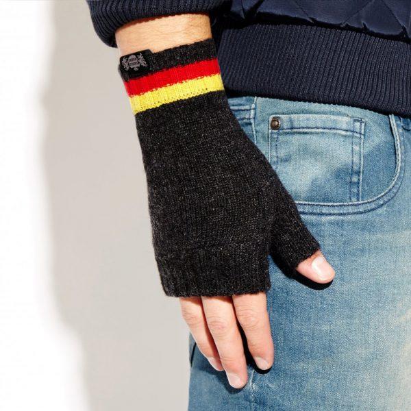 Savile Rogue Wrist Warmers: Charcoal Red Yellow