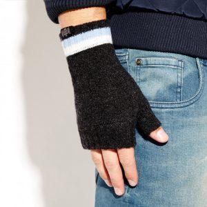 Savile Rogue Wrist Warmers: Charcoal Sky Blue and White