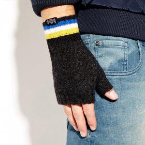 Savile Rogue Wrist Warmers: Charcoal Royal Blue White Yellow