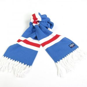 Savile Rogue Youth Blue Red and White Cashmere Football Scarf