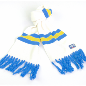 Savile Rogue Youth White Yellow and Blue Cashmere Football Scarf