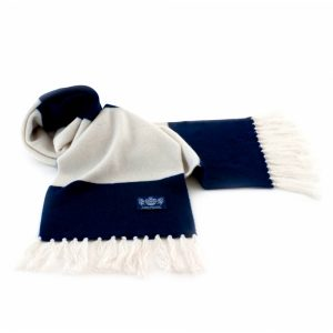 Savile Rogue Navy Blue and White Deluxe Cashmere Football Scarf