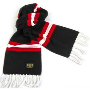 Savile Rogue Black Red and White King Cashmere Football Scarf