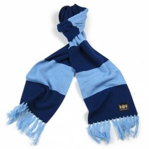 Savile Rogue Navy and Sky King Cashmere Football Scarf