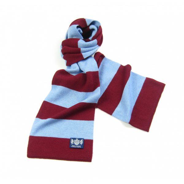 Savile Rogue Claret and Sky Blue Minibar Cashmere Football Scarf