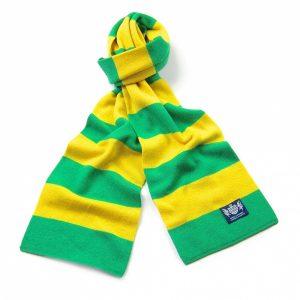 Savile Rogue Green and Yellow Minibar Cashmere Football Scarf