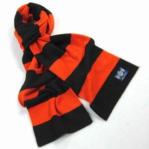 Savile Rogue Orange and Black Minibar Cashmere Football Scarf