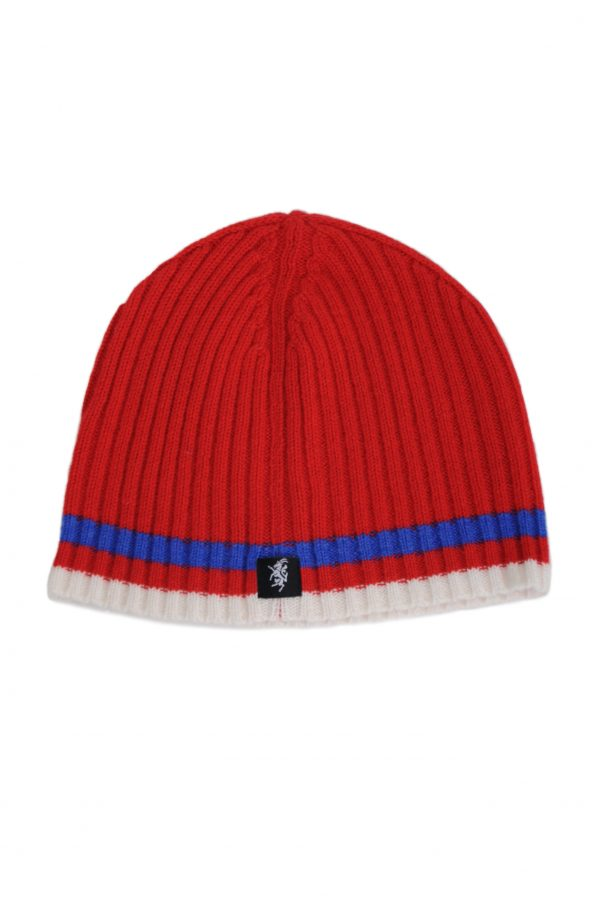 Cashmere Beanie Hat in Red Blue and White