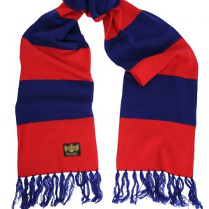 Savile Rogue Red and Navy King Cashmere Football Scarf