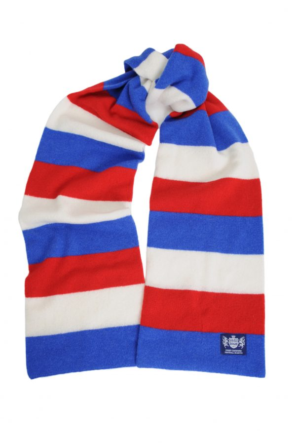 Savile Rogue Royal Blue Red and White Minibar Cashmere Football Scarf
