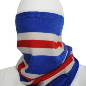 Savile Rogue Cashmere Snood in Blue, Red and White